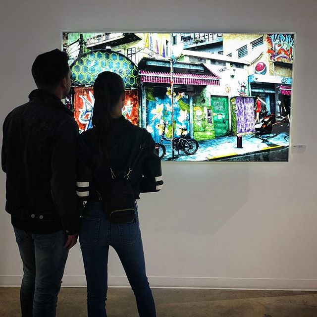 'Here Be Lions' / Oliver Cole Gallery / Wynwood Miami / Gorgeous (and lovely) couple: @chrishollod  @biancavierra . . @olivercolegallery #miamiartweek #contemporaryart #mixedmedia #painting #backlight #art #artgallery #streetart #graffiti