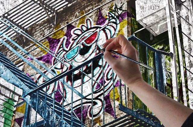 Monster in progress. Having fun bringing this dude to life. . . #3Dglasses #paintinginprogress #streetart  #graffiti #art #instaart #contemporaryart #artstudio #plexiglass #acrylicpainting #ledlights #monster