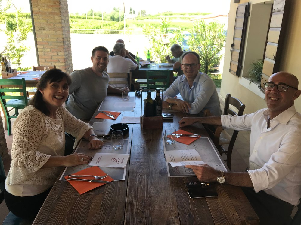 Lisa and Joel lunching with Lucio Ravedoni, Sales Director and Hartmut Pirker Export Manager at Montbel