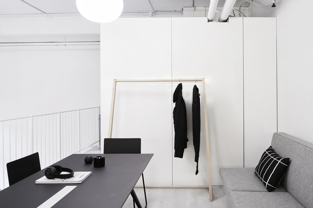 "The Swensk office. ""One of my favourite pieces from KFive+Kinnarps, which we are lucky enough to have in the office, is the  Skandinavia AHN1 Coat Rack  by Nikari. It is a great example of understated design."" Photo by  Eve Wilson"