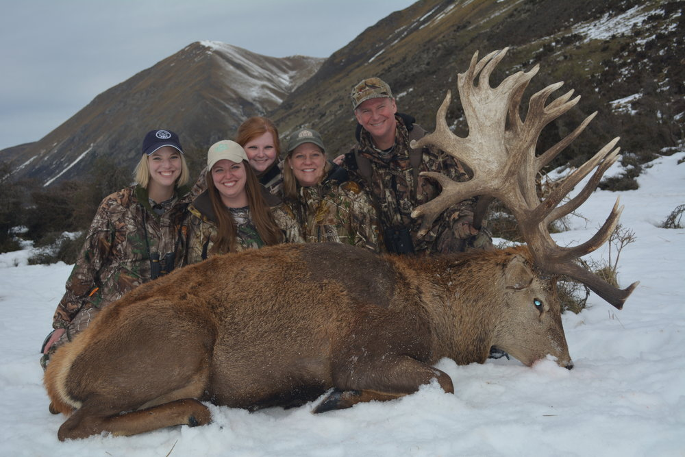 Family from Dallas, Texas enjoying our New Zealand Stag hunting!  500 SCI plus Stag.