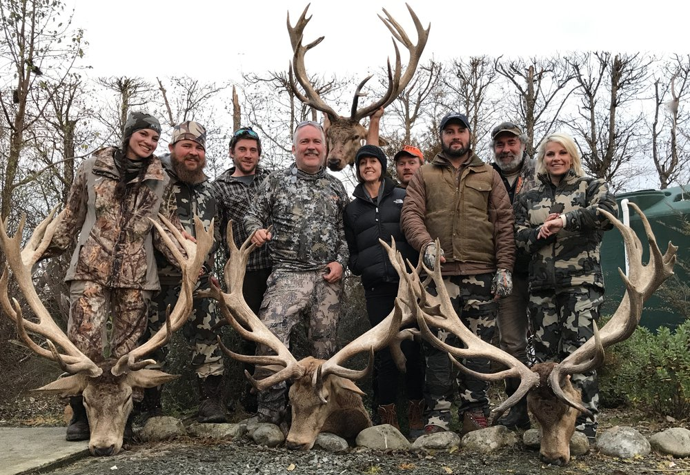 Texas group with their Red Stags - July 2017.  We offer Stag hunting for exceptional trophies on private land.