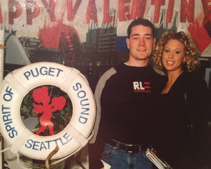 My husband and I during our dating days - circa 2000 - check out that orange shade of tan!