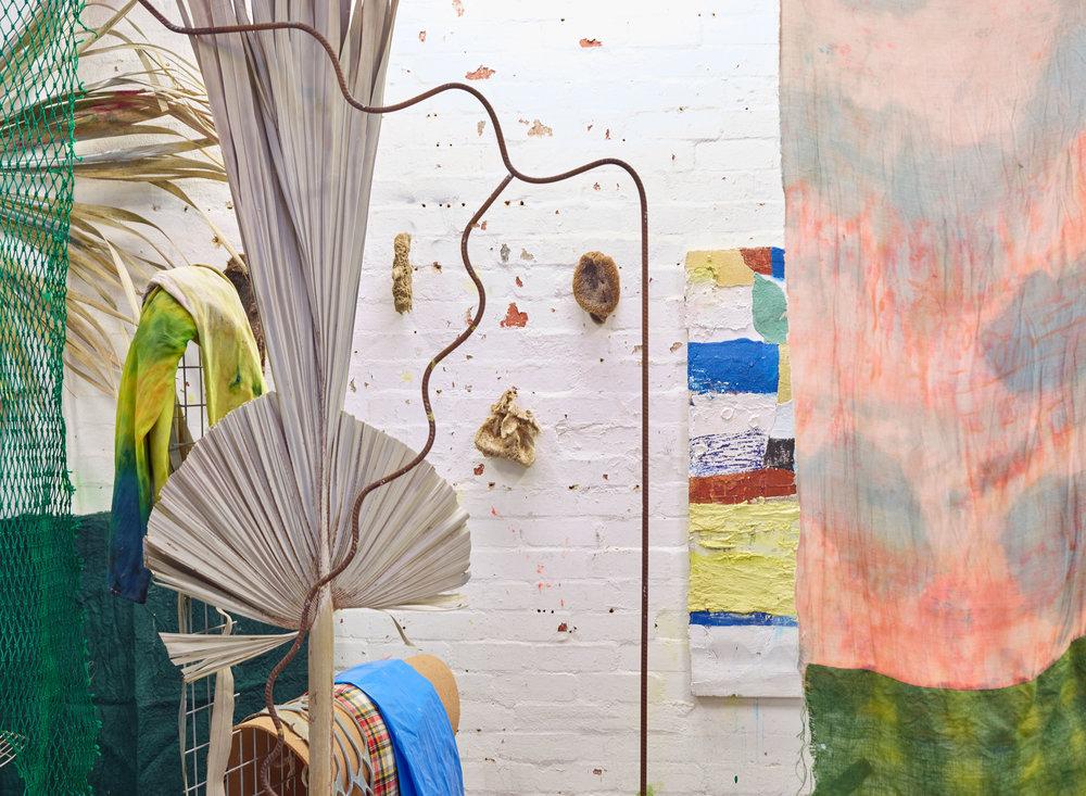 Aaron C. Carter, studio view, 2017. Photograph: Danny Cohen.    Header Image: Darren Sylvester, installation view, Neon Parc, Melbourne.