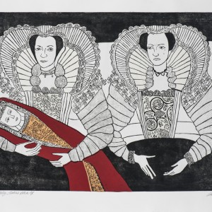 Photo: Cholmondeley Ladies Redux, 2016, etching and chine colle, 67x107 cm