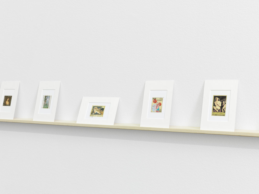 Exhibition views, Hans-Peter Feldmann, Briefmarken mit Gemälden von Akten, 150 stamps, matted, Galerie Francesca Pia, Zürich, 2017 © Hans-Peter Feldmann, Courtesy of Galerie Francesca Pia Photo: Annik Wetter