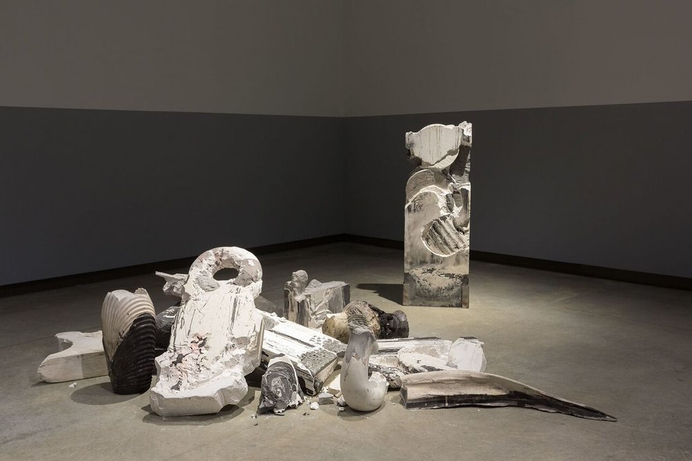 Image: Adam John Cullen, Certain Remnants, installation view, Primavera 2017: Young Australian Artists, Museum of Contemporary Art Australia, Sydney, 2017, hydrostone, plaster, oxide, cotton, marble, limestone, image courtesy the artist and the Museum of Contemporary Art Australia © the artist, photograph: Jessica Maurer