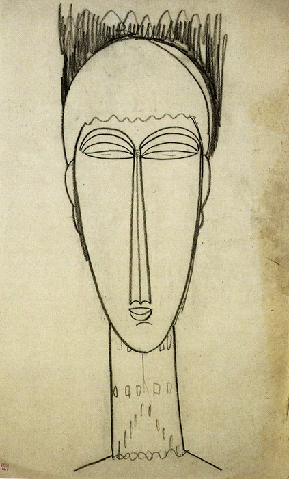 Amedeo Modigliani,  Head , c. 1911. Modigliani Unmasked at the Jewish Museum