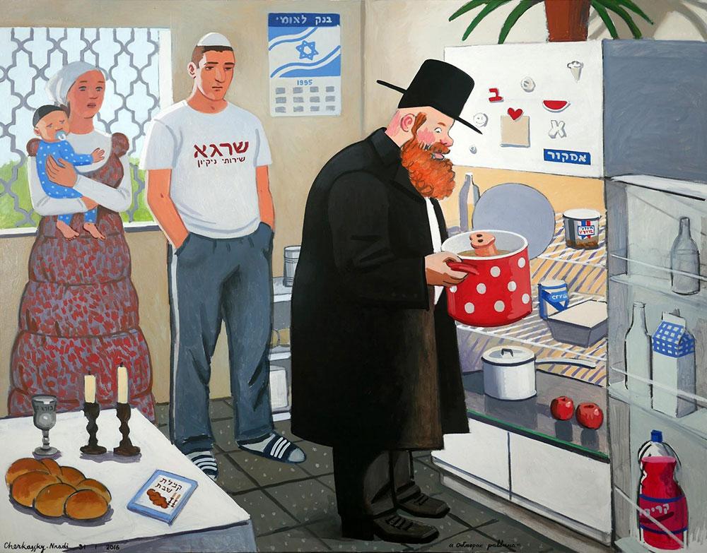 Rabbi's Deliquium, 2016, Oil on linen, Private collection, Israel