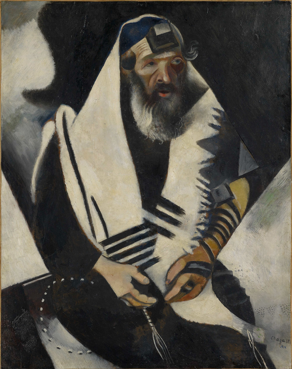 Jew in Black and White (Le juif en noir et blanc), 1914 Oil on cardboard mounted on canvas 101 x 80 cm Im Obersteg Collection, permanent loan to the Kunstmuseum Basel 2004, Inv. Im 1084 © Marc Chagall, Vegap, Bilbao 2018
