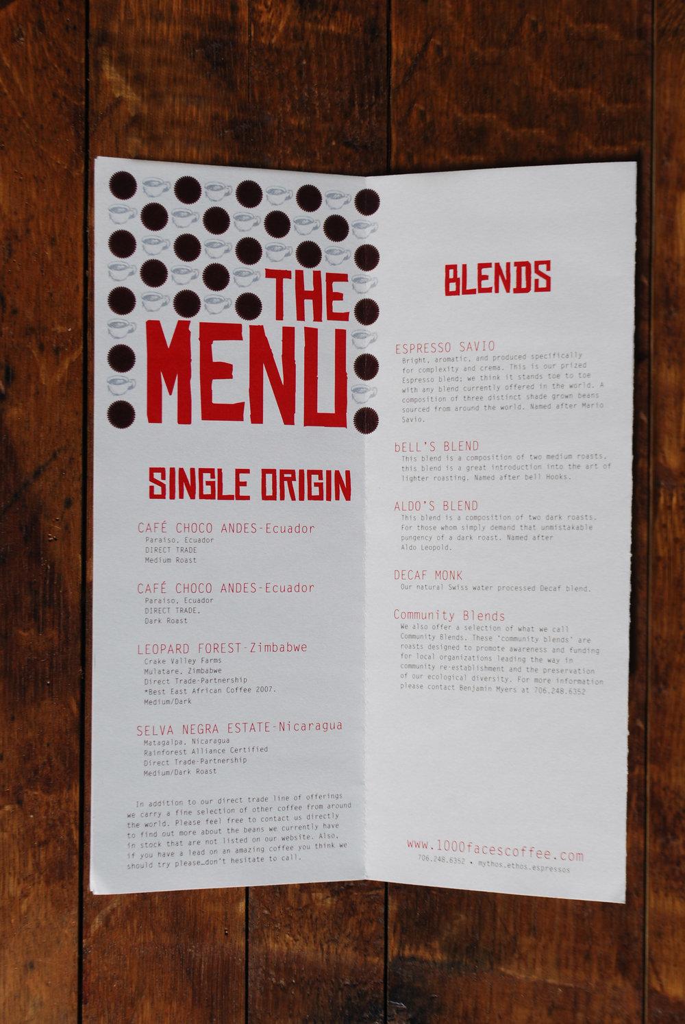 interior gate fold, menu + manifesto, 1000 faces coffee