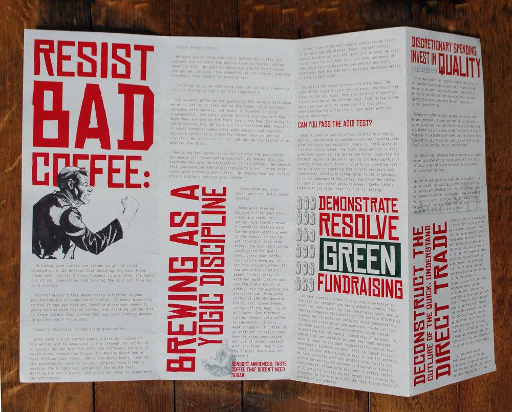 back side, menu + manifesto, 1000 faces coffee