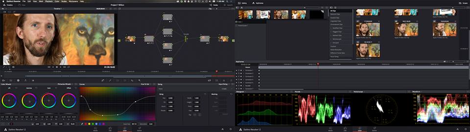 Screenshot of the color grading process in Davinci Resolve that we used for Project 7 Billion's trade-show video.