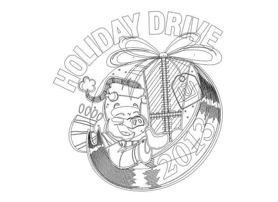 2013 Unitus Holiday Drive cartoon logo outlines by Josh Cleland