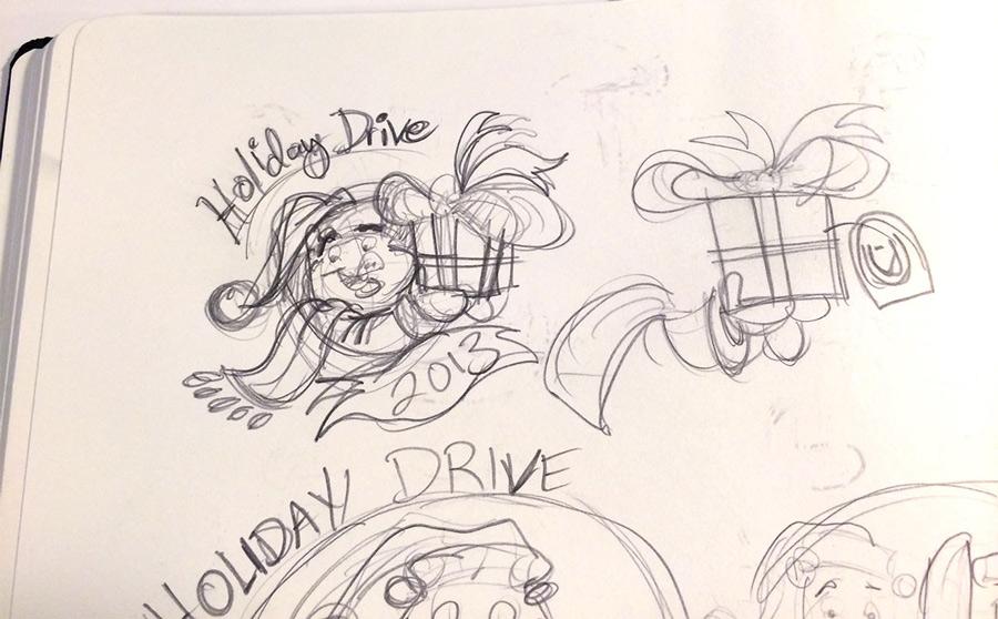 2013 Unitus Holiday Drive cartoon logo sketch by Josh Cleland