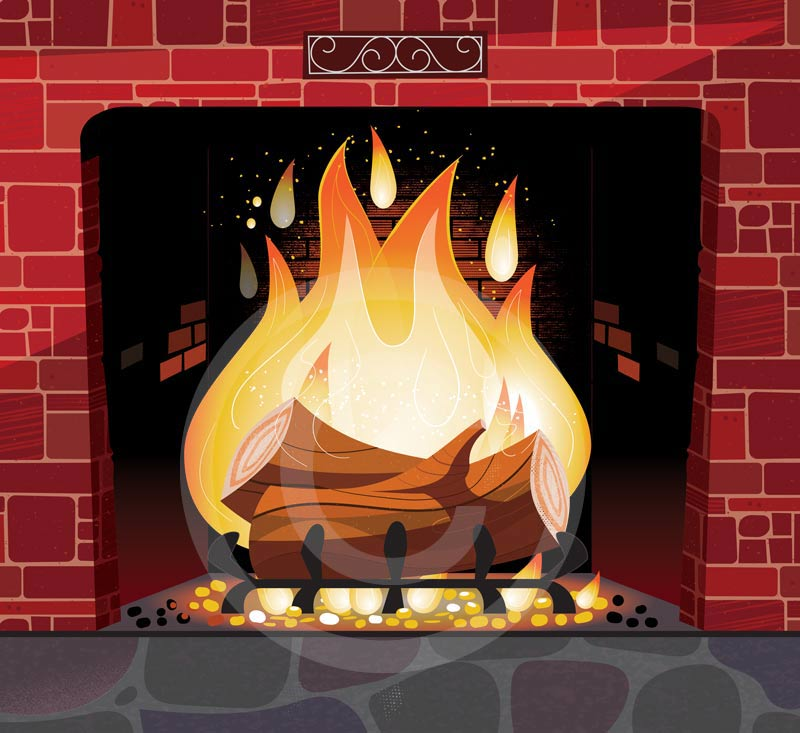 Christmas fireplace illustration for Unitus CCU