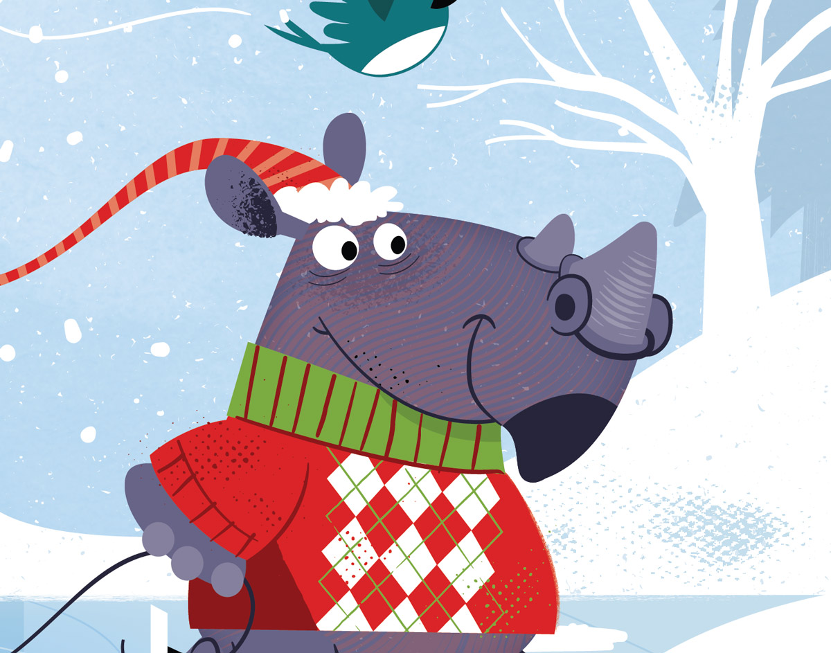 Christmas Skating Rhino Detail 2