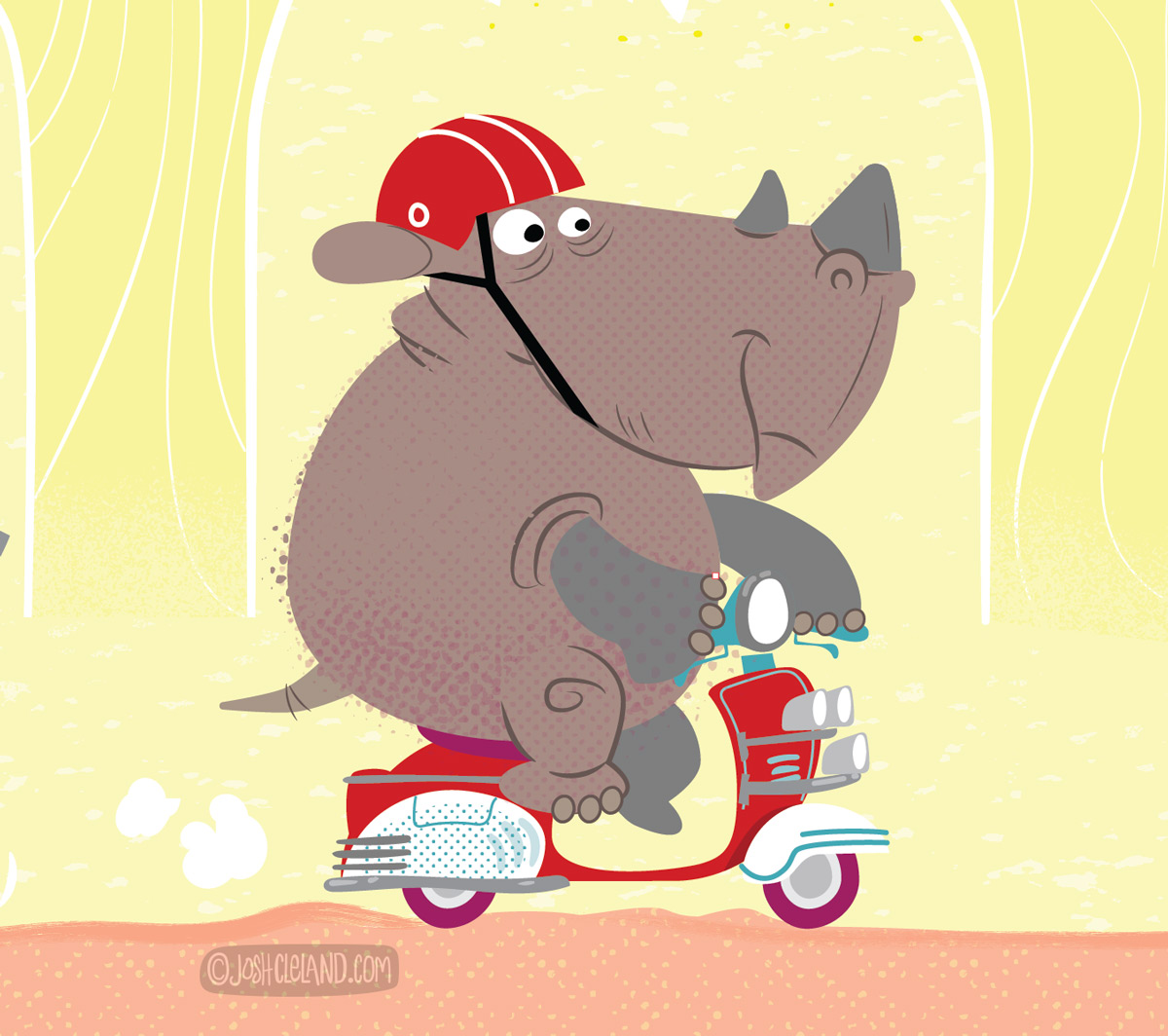 Animals driving scooters illustration 1