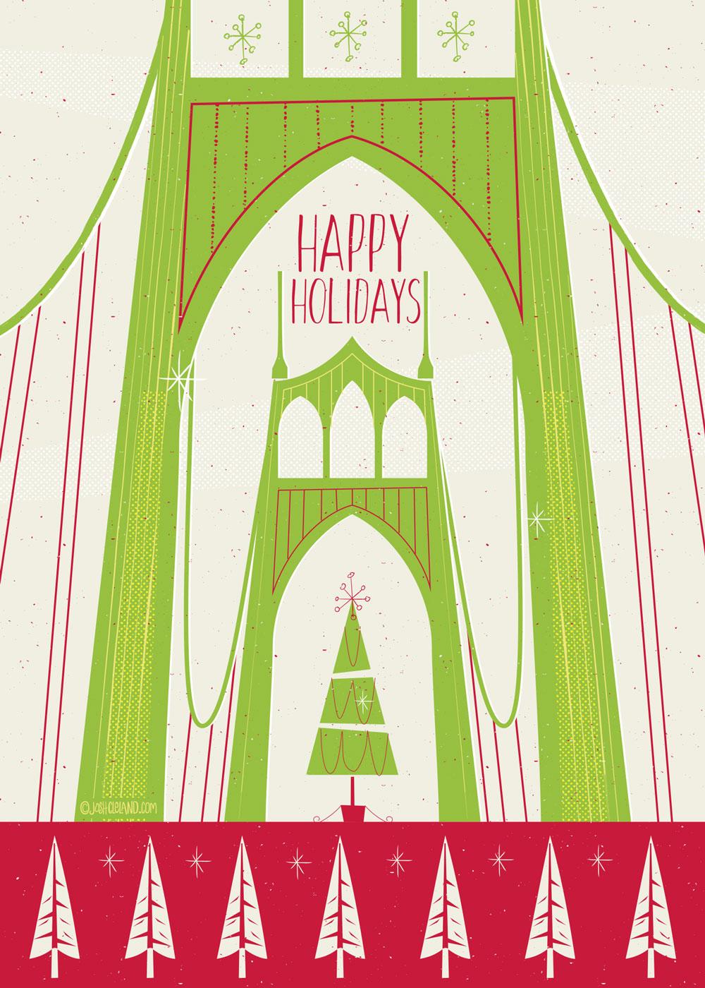 St John's Bridge Greeting Card by Josh Cleland