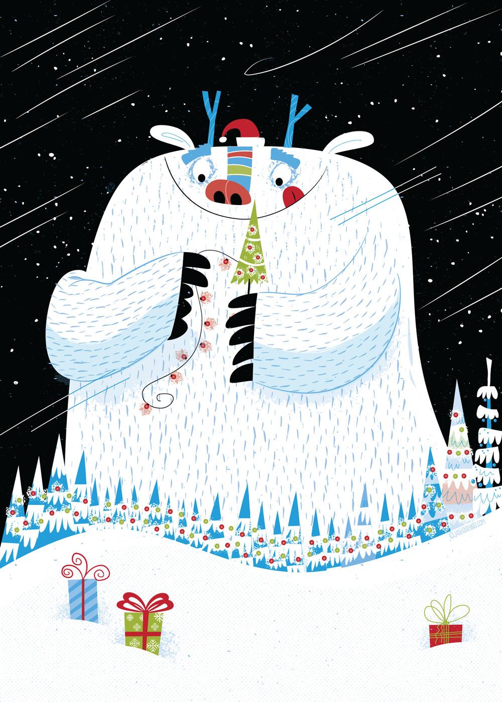 Christmas yeti greeting card by Josh Cleland
