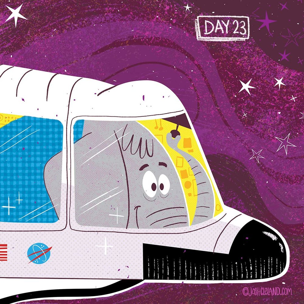 Land of Cle week 4 elephant astronaut illustration by Josh Cleland