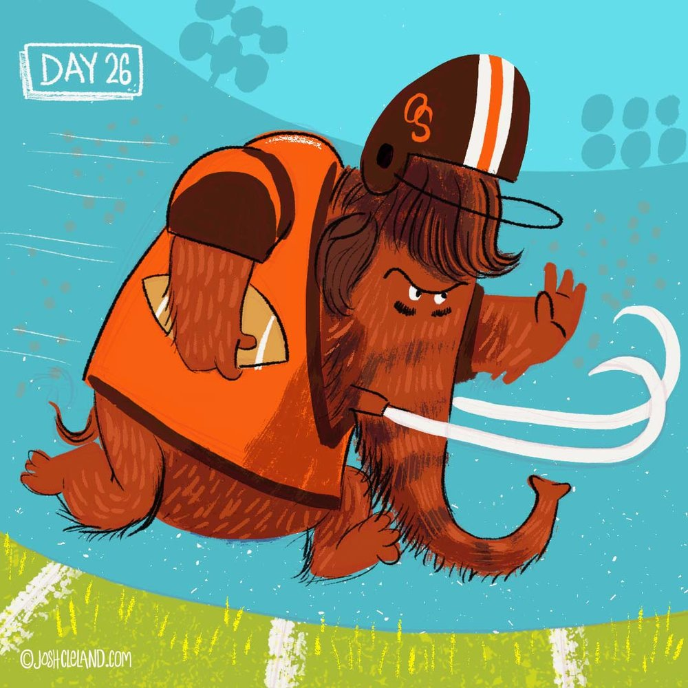 Land of Cle week 4 woolly mammoth illustration by Josh Cleland