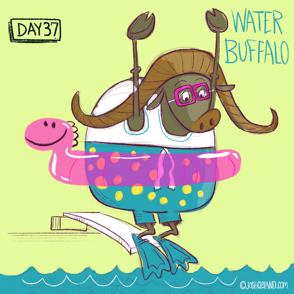 Land of Cle water buffalo illustration by illustrator Josh Cleland