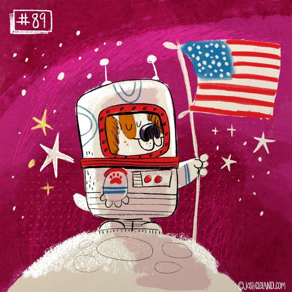 Land of Cle astronaut dog illustration by Josh Cleland
