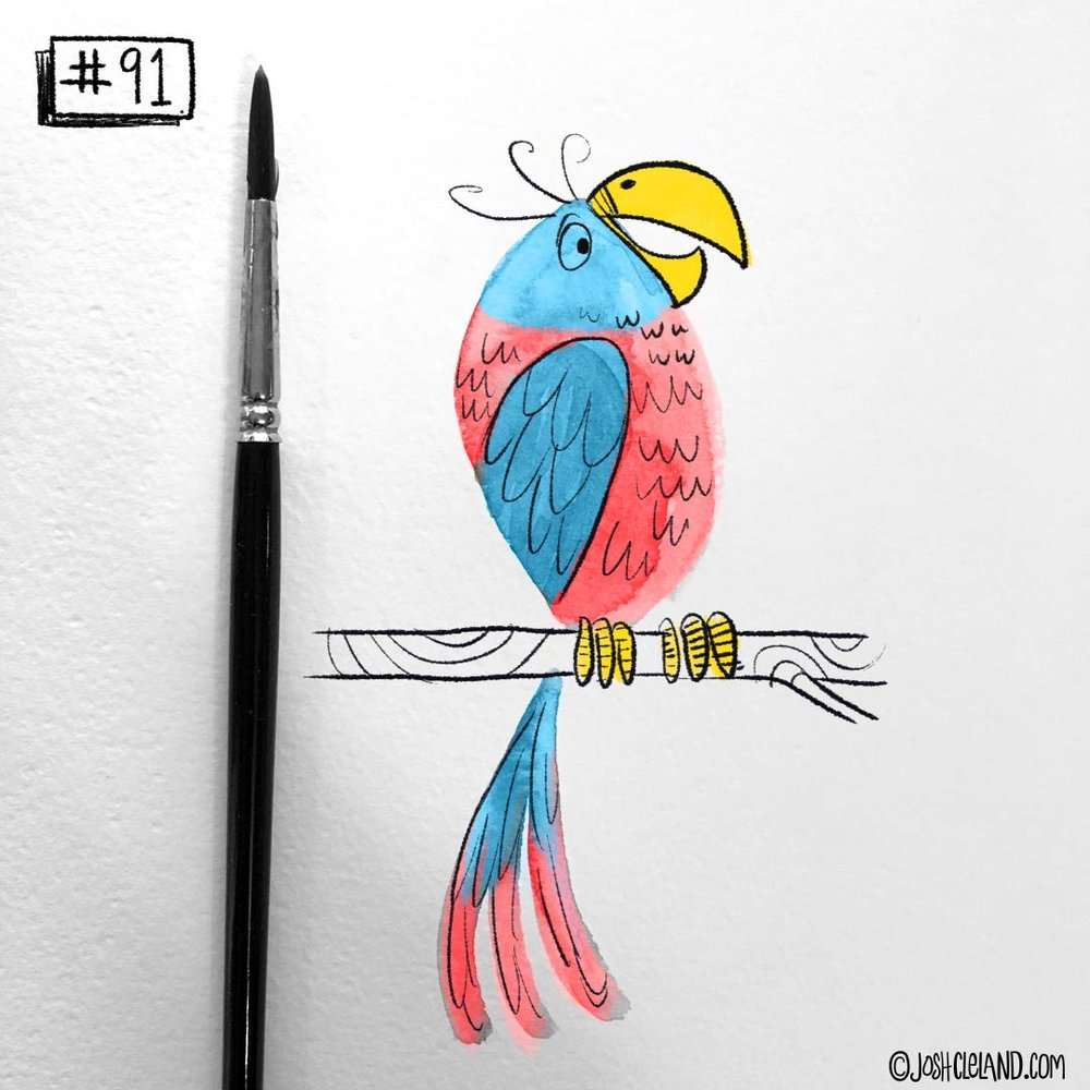Land of Cle parrot illustration by Josh Cleland