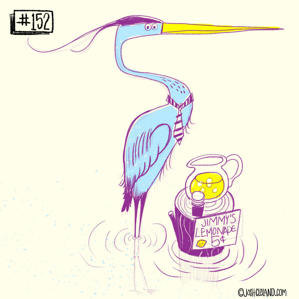 LAND of CLE by illustrator Josh Cleland blue heron illustration