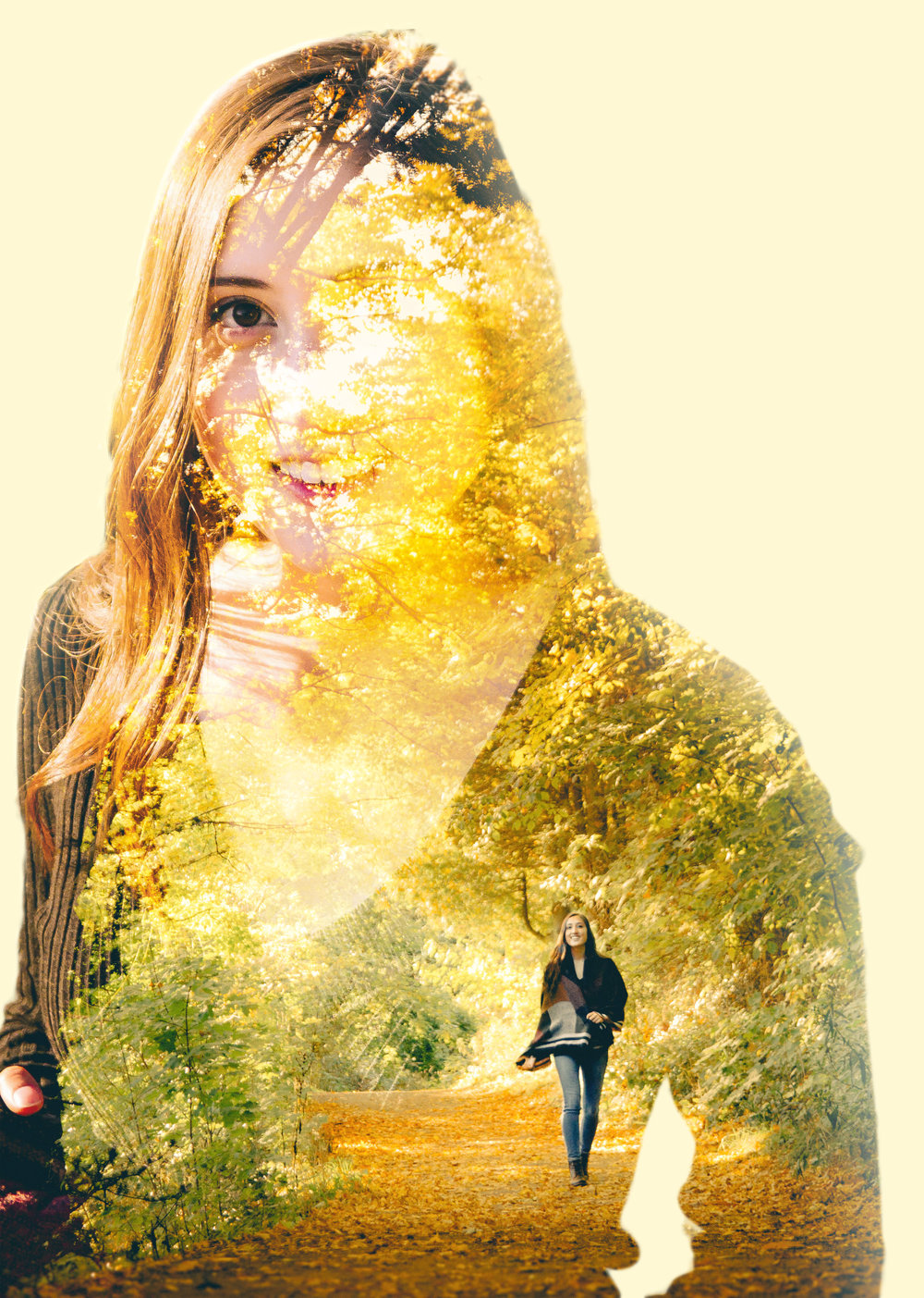 Portrait and Forest Double Exposure