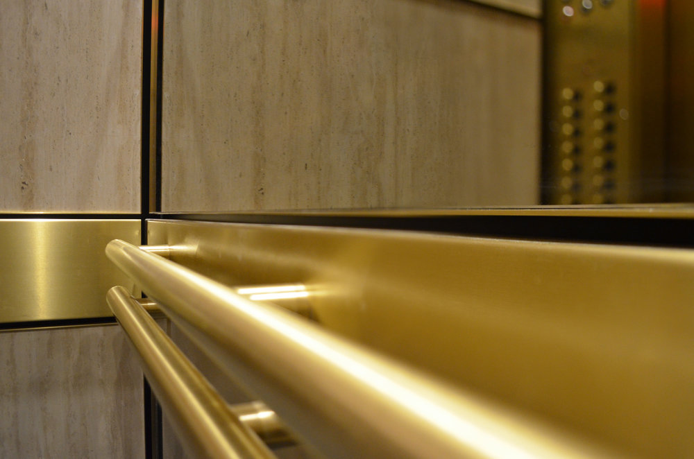 Double Tubular Brass Elevator Handrails