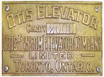 Otis Fensom Elevator Tag