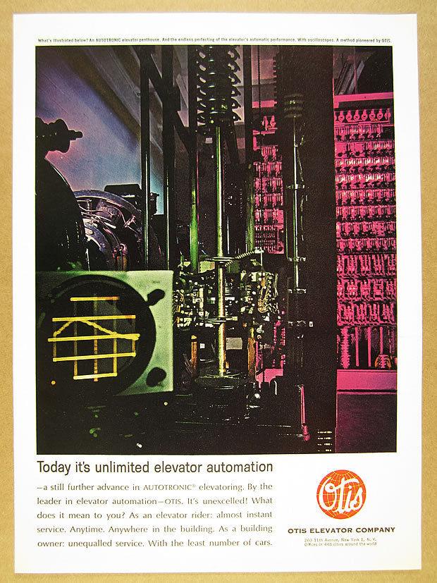 1963 Otis Autotronic Elevator penthouse photo vintage print Ad.jpg