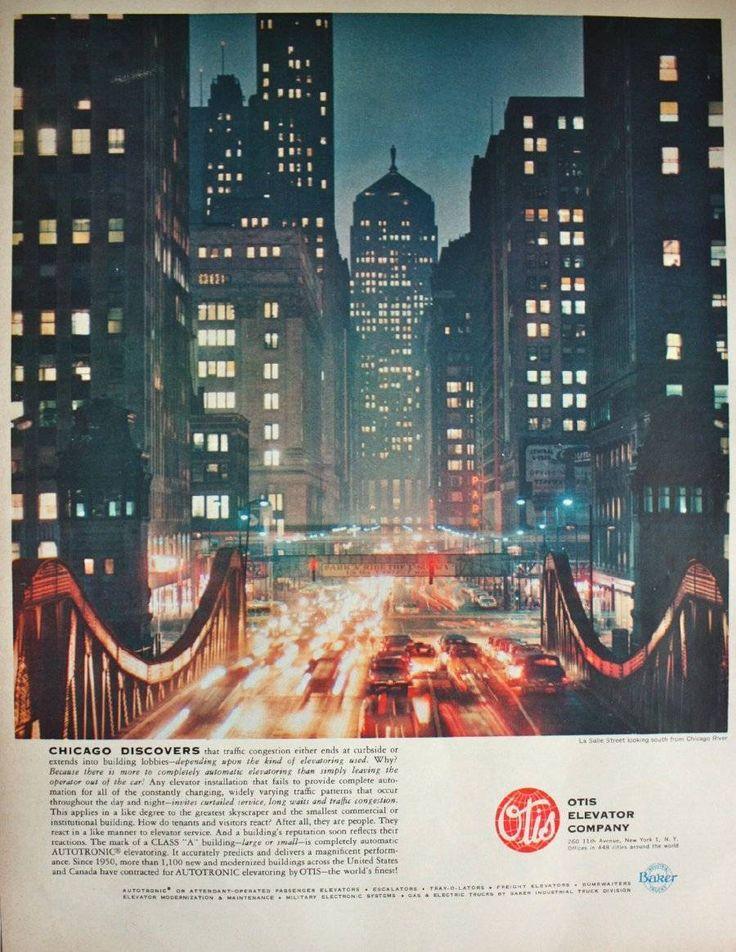 1962 Otis Elevator Company Chicago Skyline Print Ad