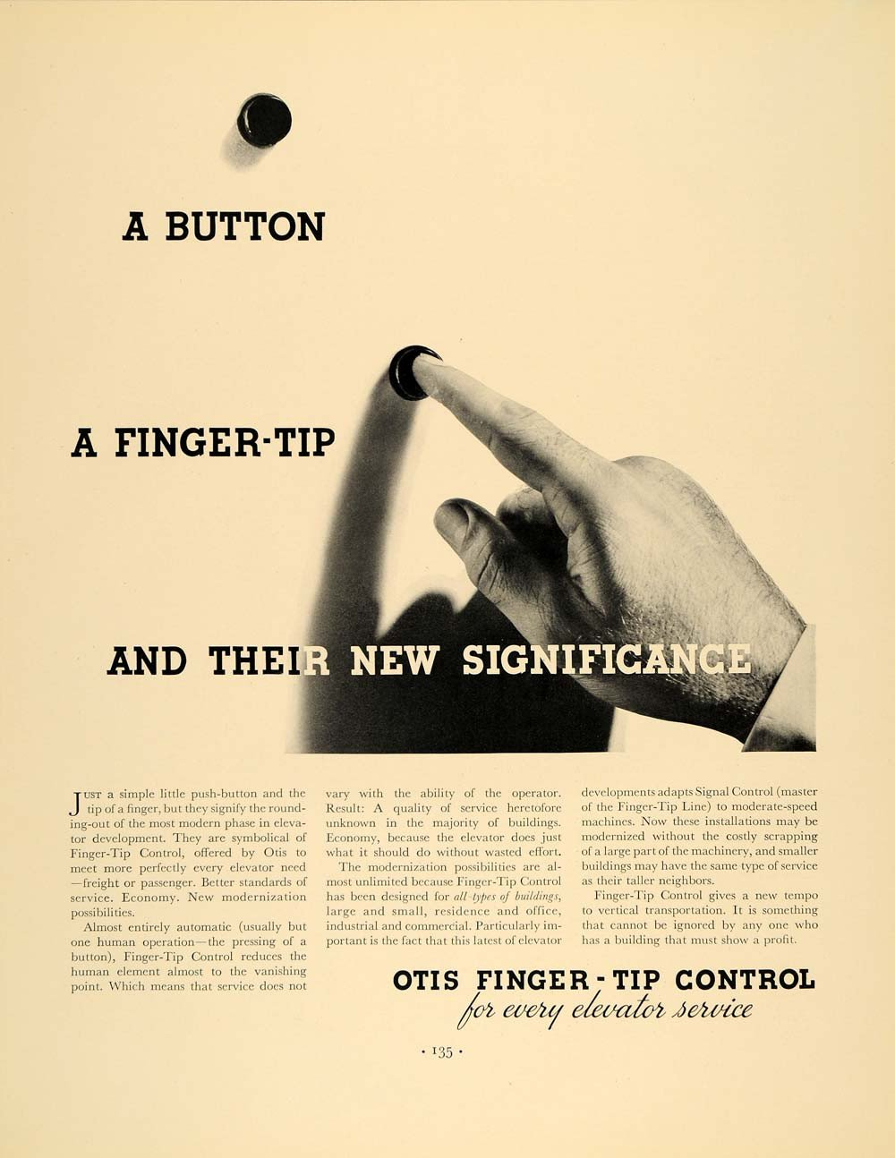 1936 Ad Otis Elevators Finger-Tip Control Push Button - ORIGINAL ADVERTISING F5A .jpg