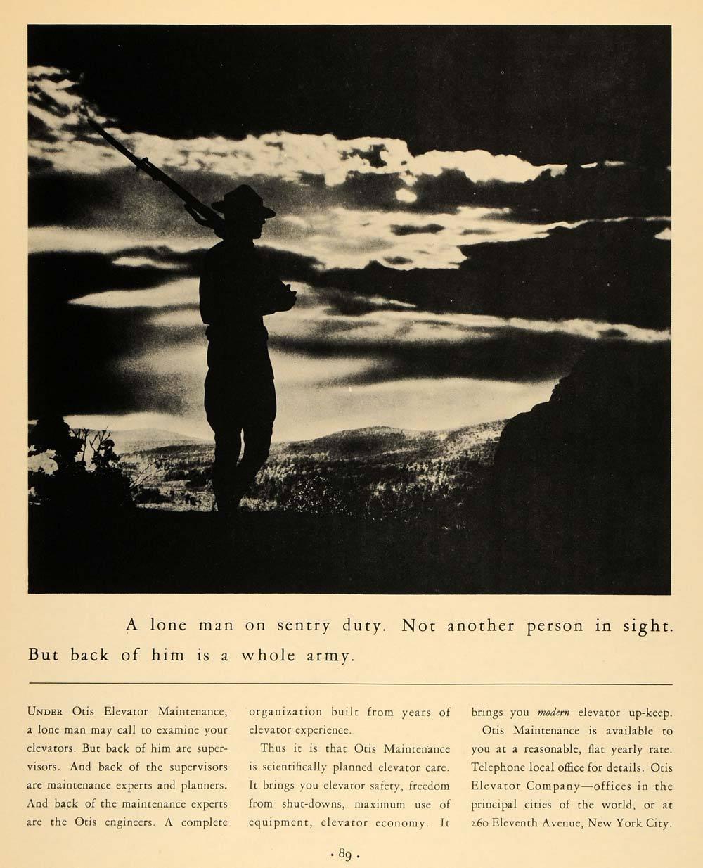 1933 Ad Otis Elevators Sentry Army Sunset Gun Soldier