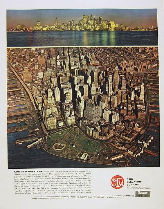 1962 Otis Elevator Company New York City Skyline Print Ad