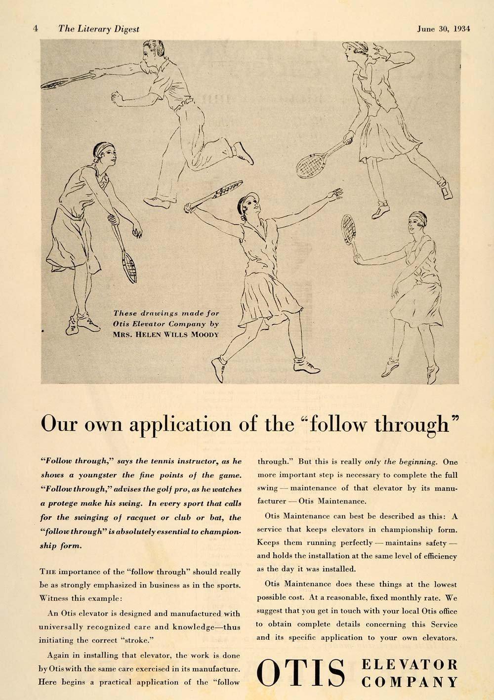 1934 Ad Otis Elevator Helen Wills Moody Tennis Drawings - ORIGINAL LD1.jpg