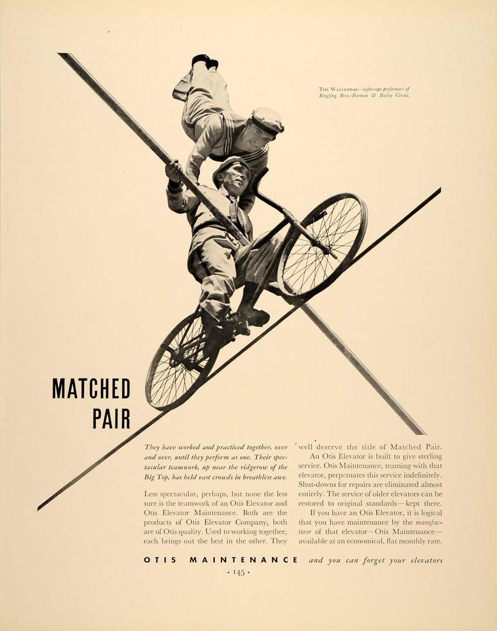 1937 Ad Ringling Brothers Otis Maintenance Elevators - ORIGINAL ADVERTISING FTT9 .jpg