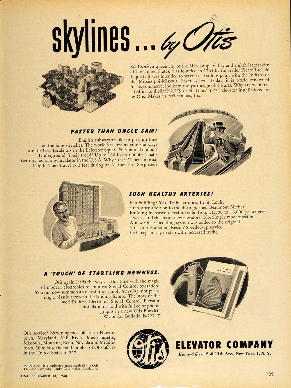 1948 Ad Otis Elevator St. Louis Beaumont Medical Bldg. - ORIGINAL TM1.jpg