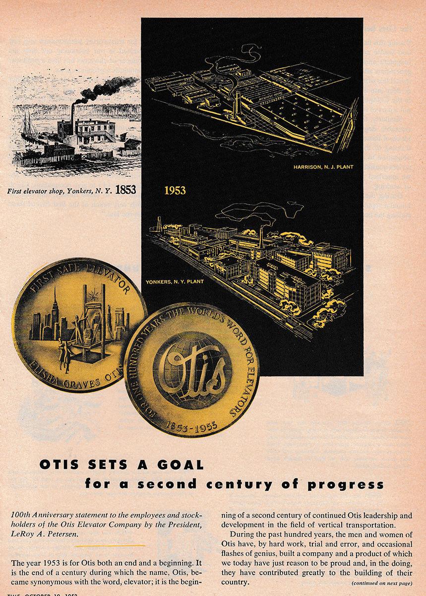 1953 Otis Elevator Company- Second Century of Progress Vintage Print Ad A.jpg
