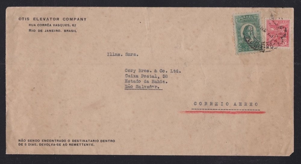 BRAZIL 1933 OTIS ELEVATOR INTERNAL AIRMAIL COVER RIO TO BAHIA SAO SALVADOR.jpg