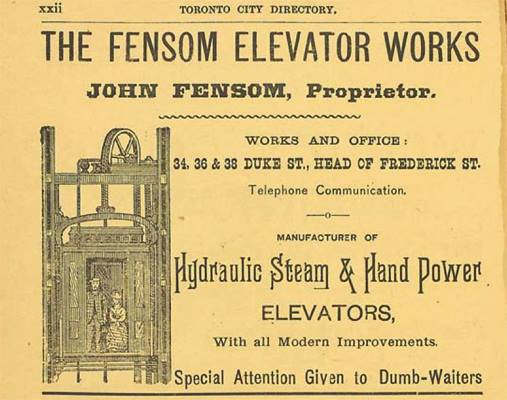 IMAGE: 1886 Fensom Elevator Works advertisement, R.L. Polk Toronto City Directory, courtesy of the Toronto Public Library. Copyright is now in the Public Domain.