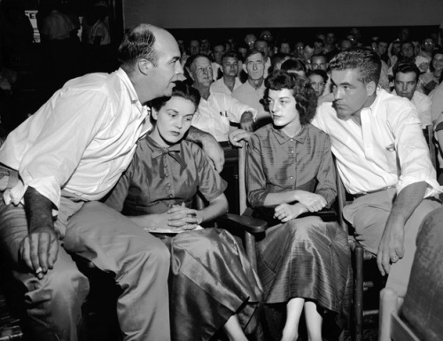 J. W. Milam, his wife Juanita, and Roy and Carolyn Bryant at the courthouse