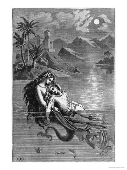 19th century illustration for The Little Mermaid