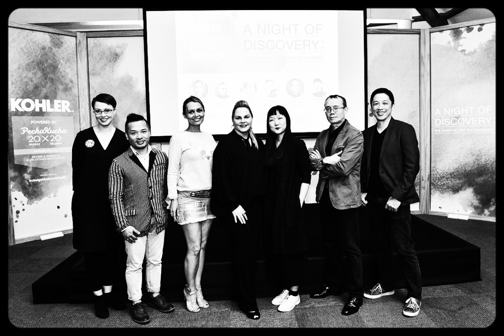 From left: Cubes and Indesignlive.sg editor Narelle Yabuka, Aldwin Ong (Design Director and Principal at Wilson Associates), Mamakan (Botanical Artist), Robbyn Carter (Project Director at HBA), designer Olivia Lee, Joshua Judd (Director at SRSS Interior Design) and Tan Lun Cheak (Studio Director at Kohler Asia Pacific).
