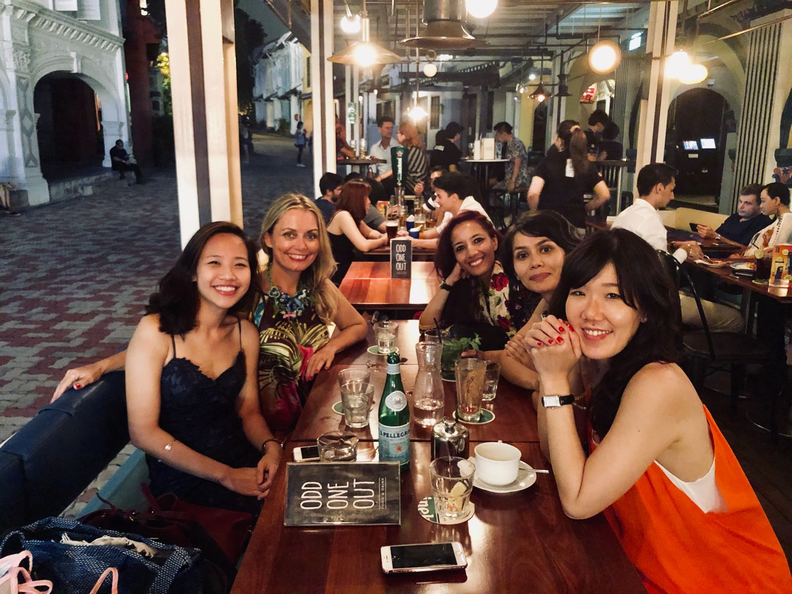 The nightcap with some of the co-founders of Women in Art, Singapore. From left: Beverly Hiong, Mamakan, Debasmitha Dasgupta, Madina Khamitova and Jolie Ow.