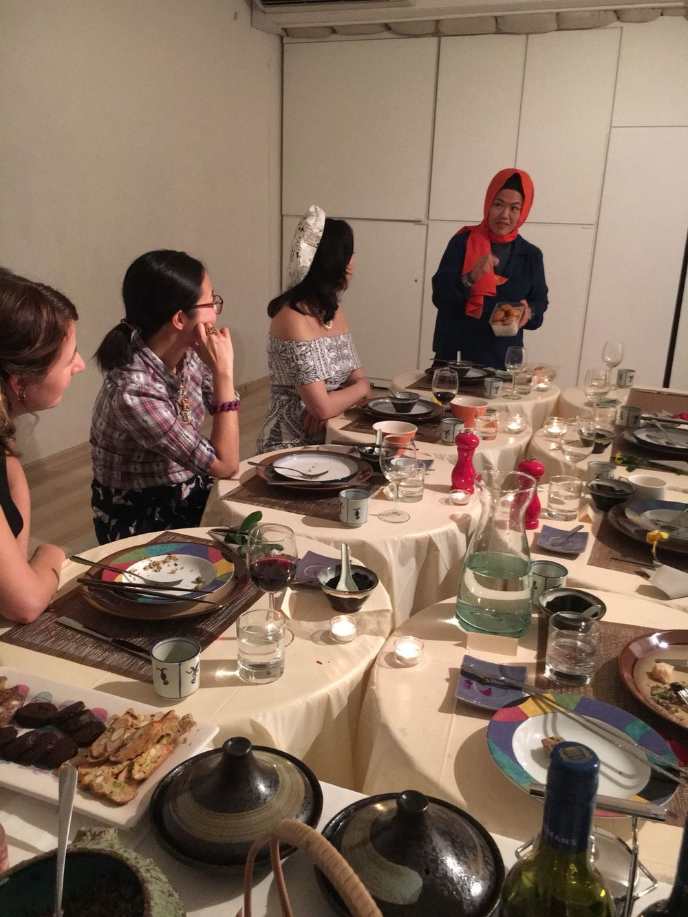 Before tasting the food, the personal story is shared.