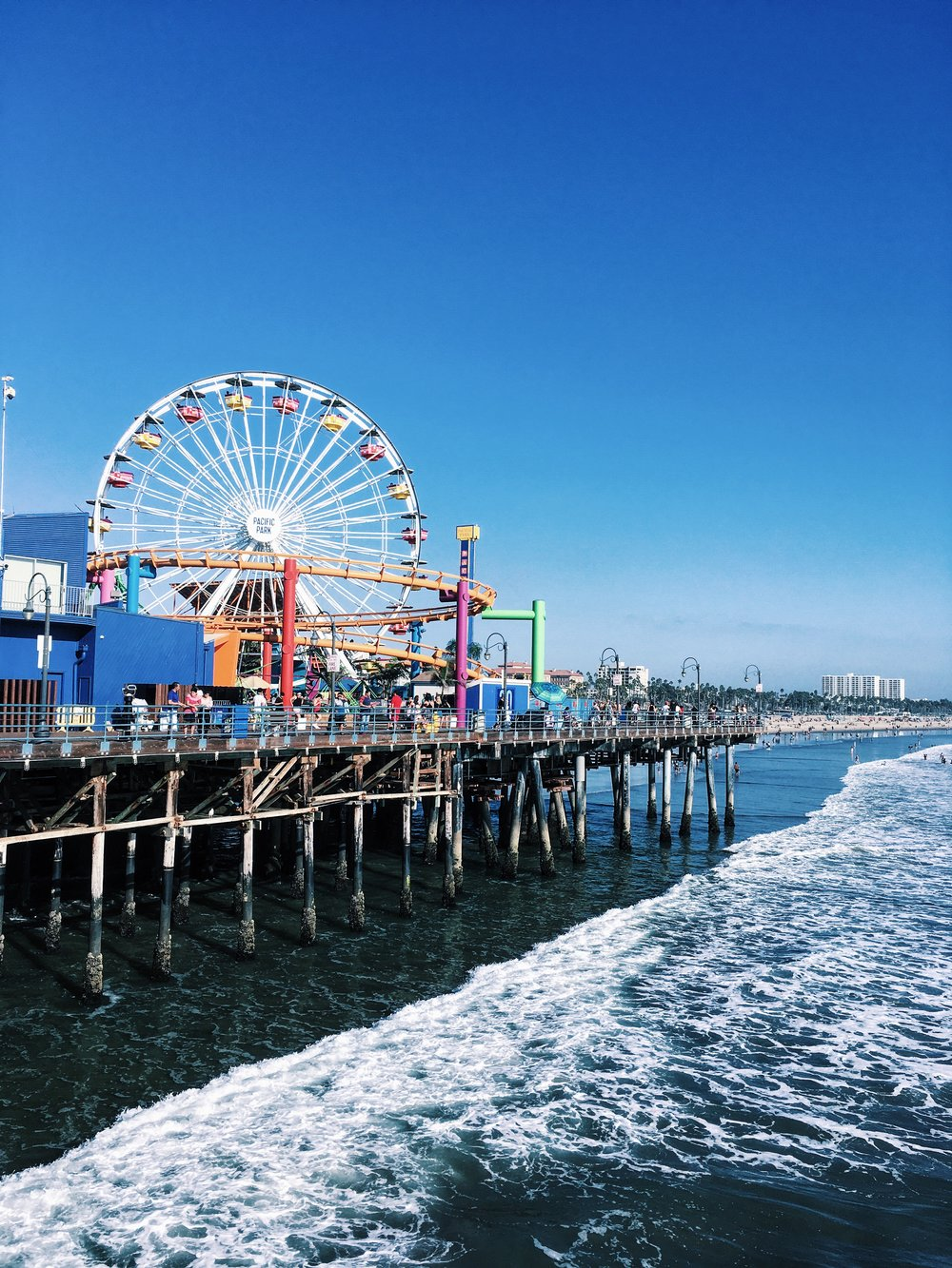 The Santa Monica Pier is one of the biggest and busiest piers I've personally ever visited but also one of the funnest. On the pier you can ride on the ferris wheel at the amusement park, Pacific Park. You can also go to the Santa Monica Aquarium and the historic Loff Hippodrome Carousel.    350 Santa Monica Pier,   Santa Monica, 90401